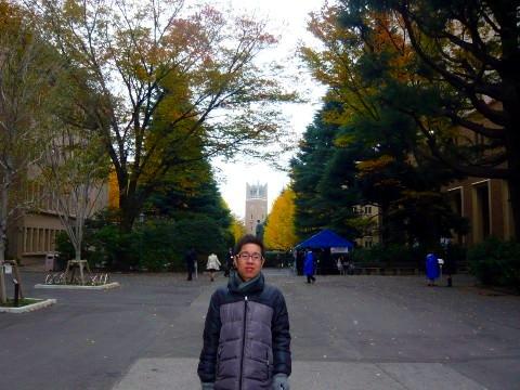 早稲田大学のキャンパスにて