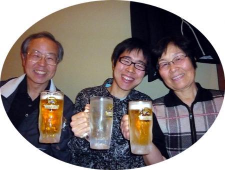 三人で乾杯